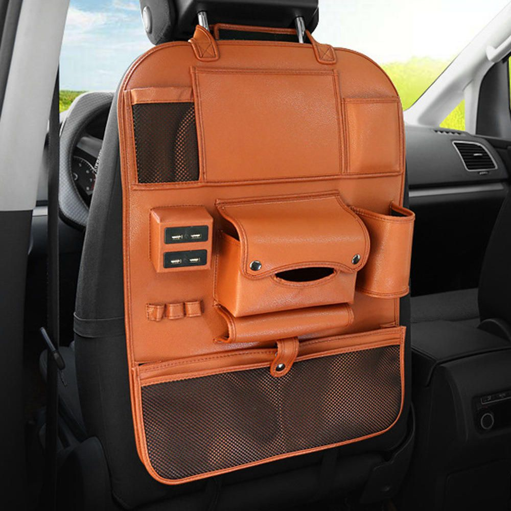 Multi-functional PU Leather Car Seat Back Storage Bag Organizer Bottle Holder with USB Charging PortInterior AccessoriesfromAutomobiles & Motorcycleson banggood.com