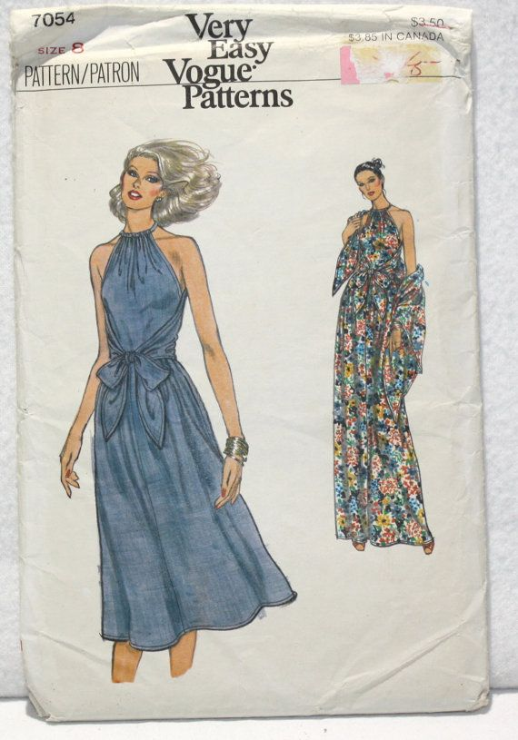 3c5c54440f This a Very Easy Vogue pattern 7054 from the 70s. It makes a sleeveless  halter dress with a bodice that wraps from the front to the back and from