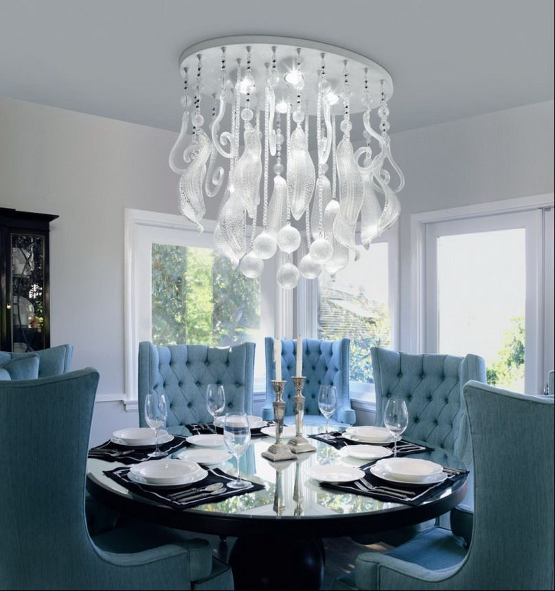 Amazing Dining Room With Blue Chairs And Chandelier Unique Light Fixtures