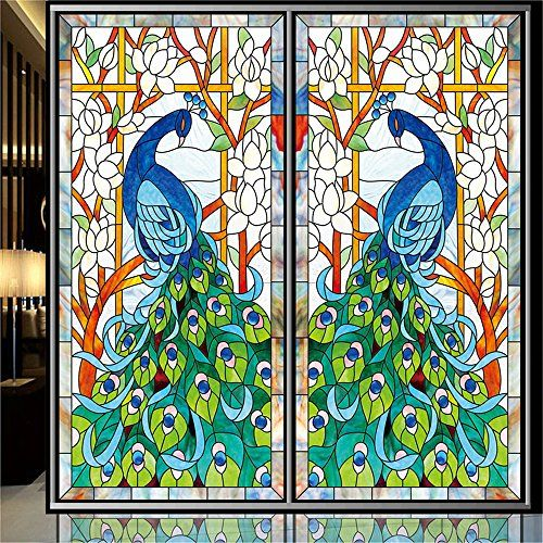 OstepDecor Custom Tiffany Style Peacock Translucent Non Adhesive Frosted  Stained Glass Window Films W X L