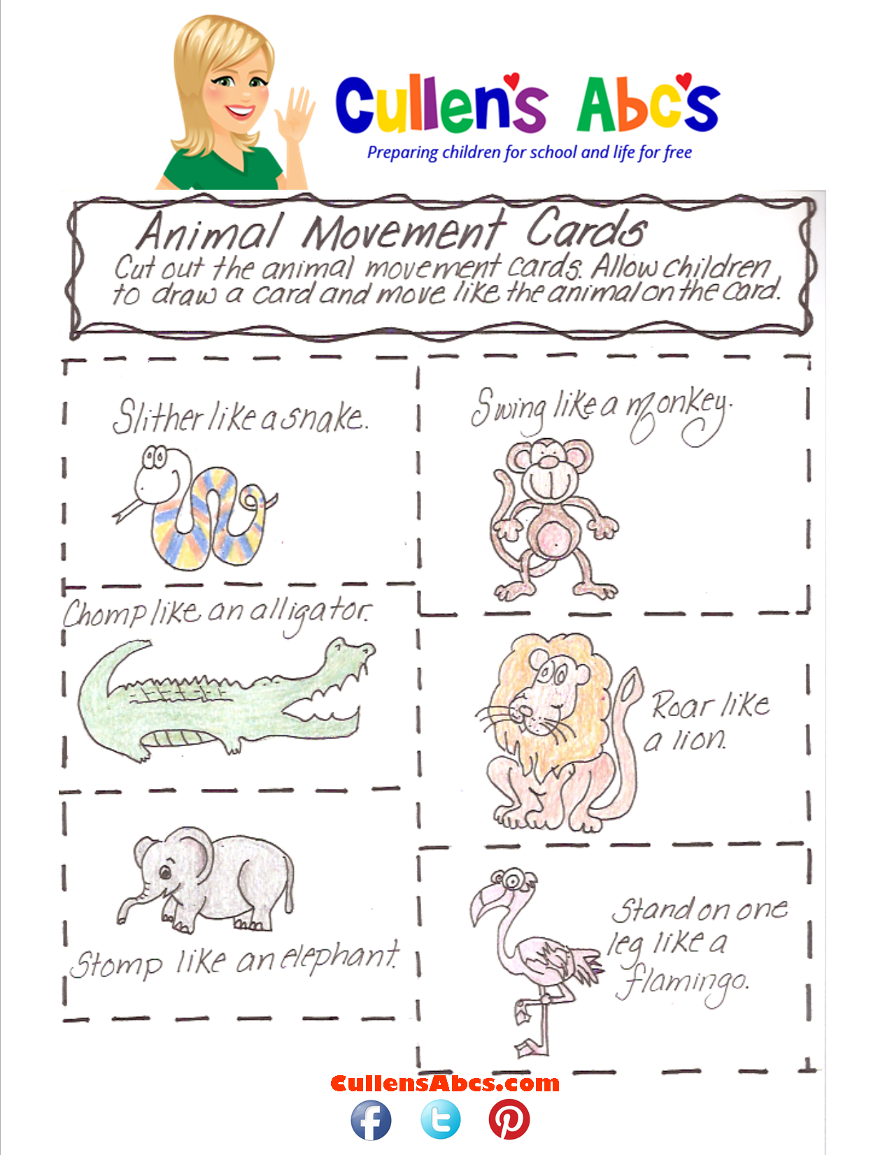 Animal Movement Cards Pattern