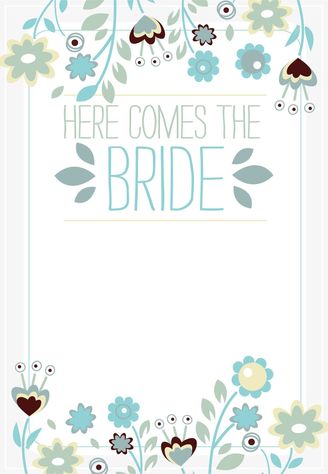 here comes the bride free printable bridal shower invitation template greetings island