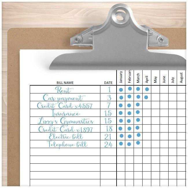 Debt Snowball Sheet, Debt Payoff Plan, and Bill Payment Tracker - bill calendar