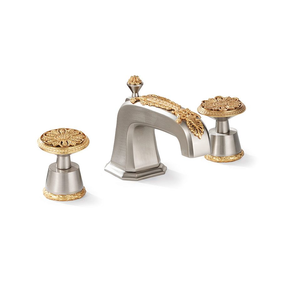 0916bsn Bn Gp Br Filigree Basin Set In Contrasting Finishes