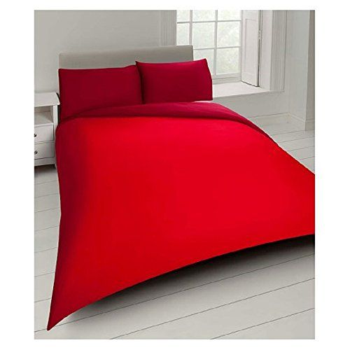 From 10 95 Tesco Basics Red King Size Duvet Cover Set With 2 Pillow Cases