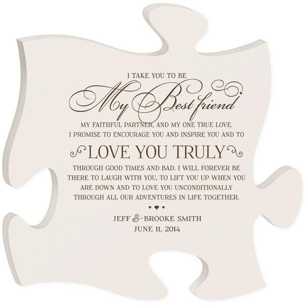 Personalized Puzzle Piece Plaque I Take You To Be My Best Friend