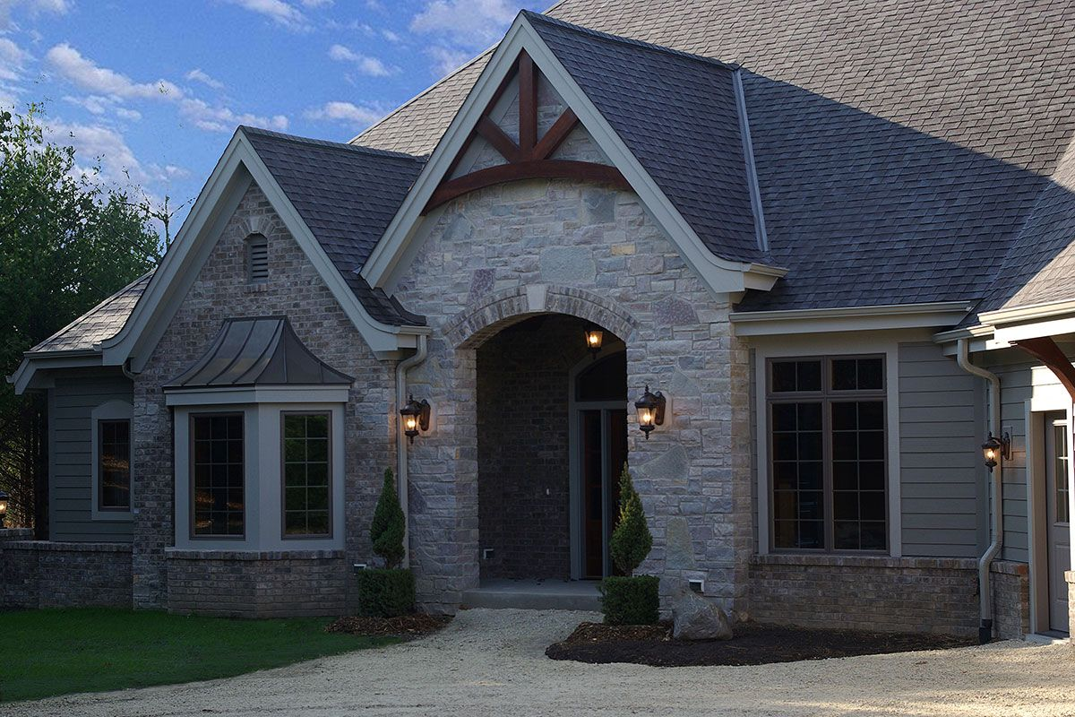 Woodcrest Residence Highland Builders Exterior Brick Country Entryway House Exterior