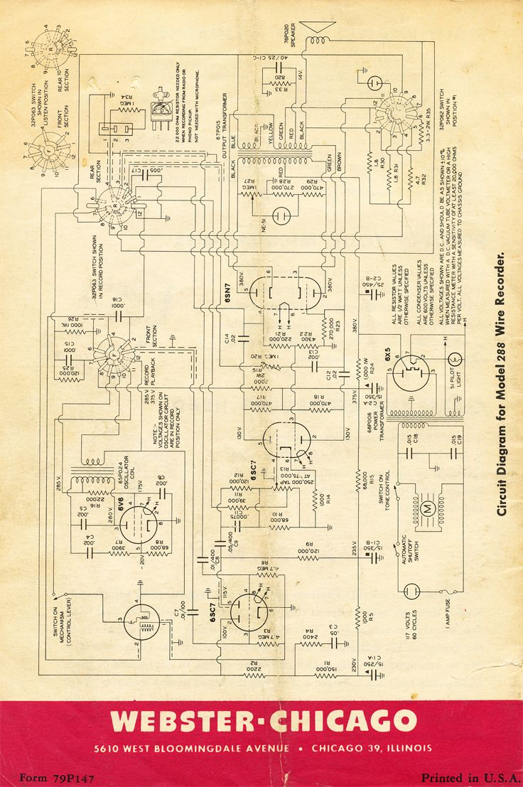 instruction manual for the webster chicago 288 wire recorder in rh pinterest com au silvertone wire recorder schematic silvertone wire recorder schematic