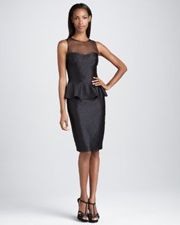 T5LUP David Meister Signature Sleeveless Cocktail Dress with Peplum
