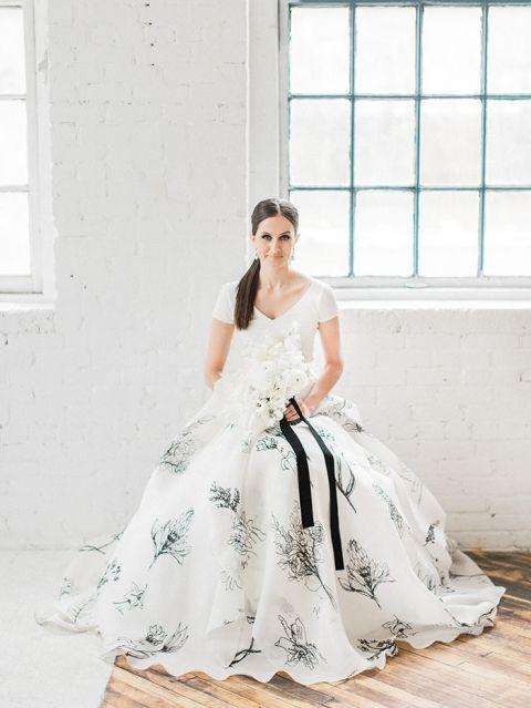 A Fresh Take on a Black and White Wedding | Wedding dress, Wedding ...