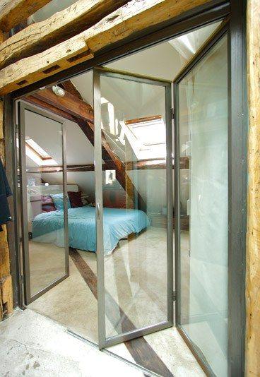 porte, porte vitrée, porte coulissante, ouverture - duplex