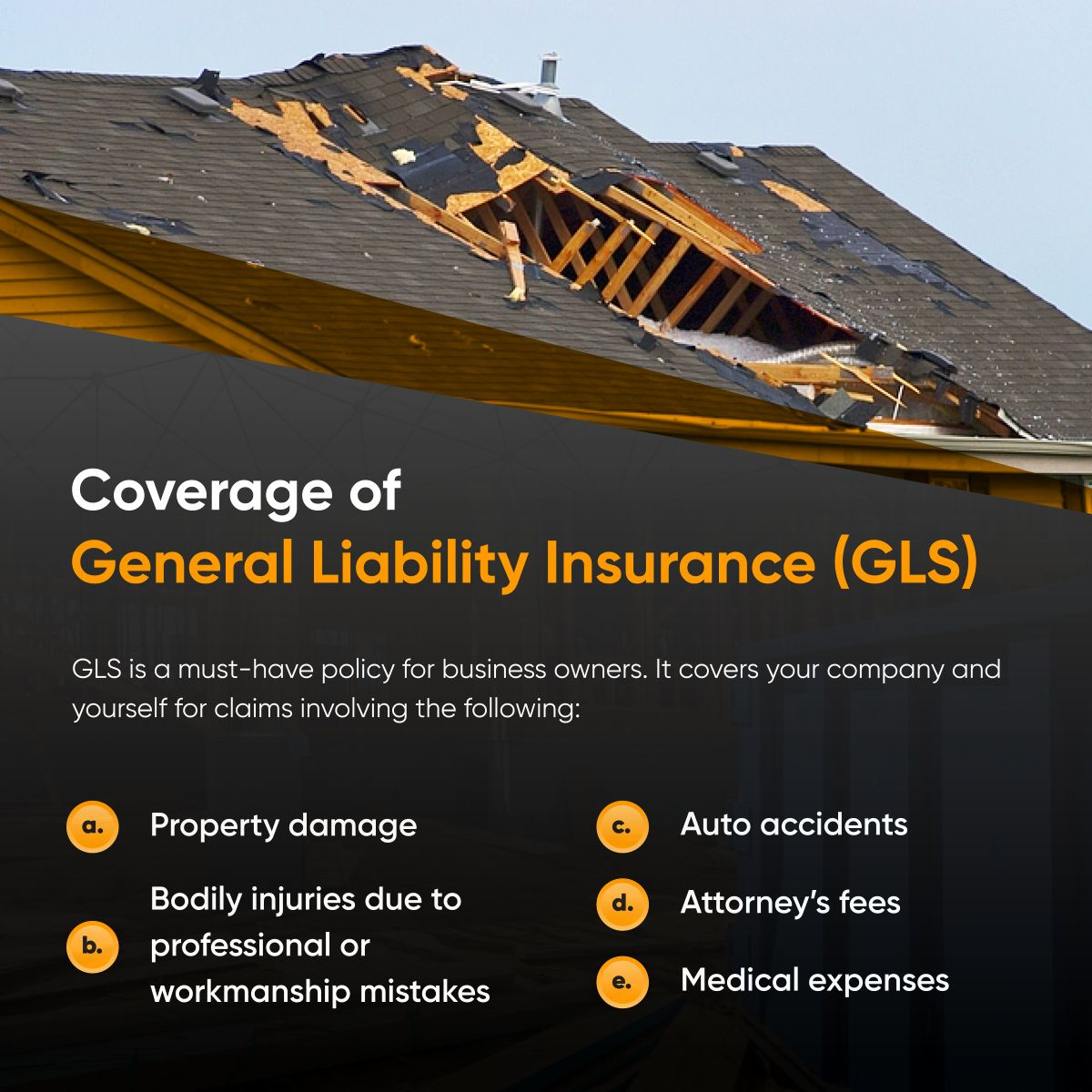 Coverage of general liability insurance gl