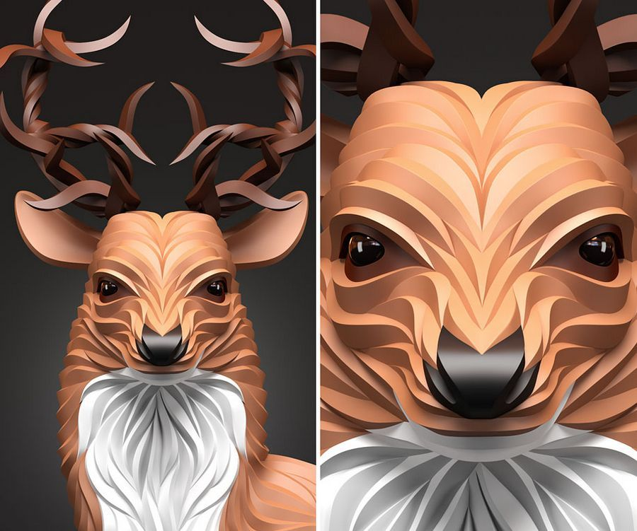 Wolf Hoof Wonderful D Vector Animal Portraits By Maksim Shkret - Fascinating 3d renderings of people and animals by maxim shkret