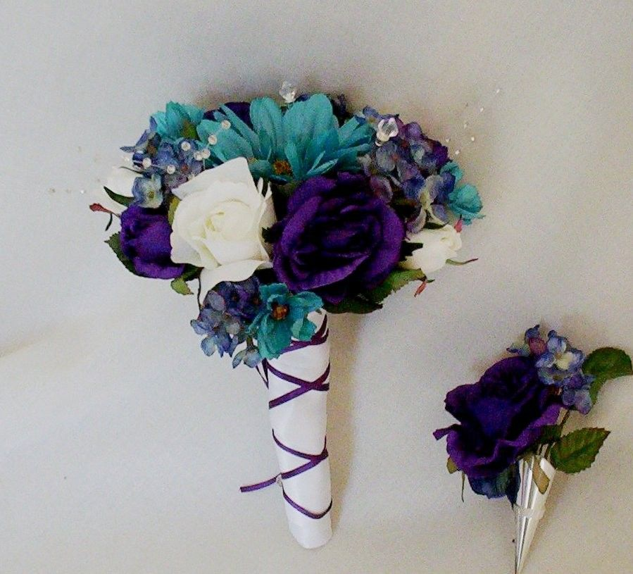 Teal Wedding Flowers Ideas: Teal Wedding Bouquet Purple Boutonniere Reserved For