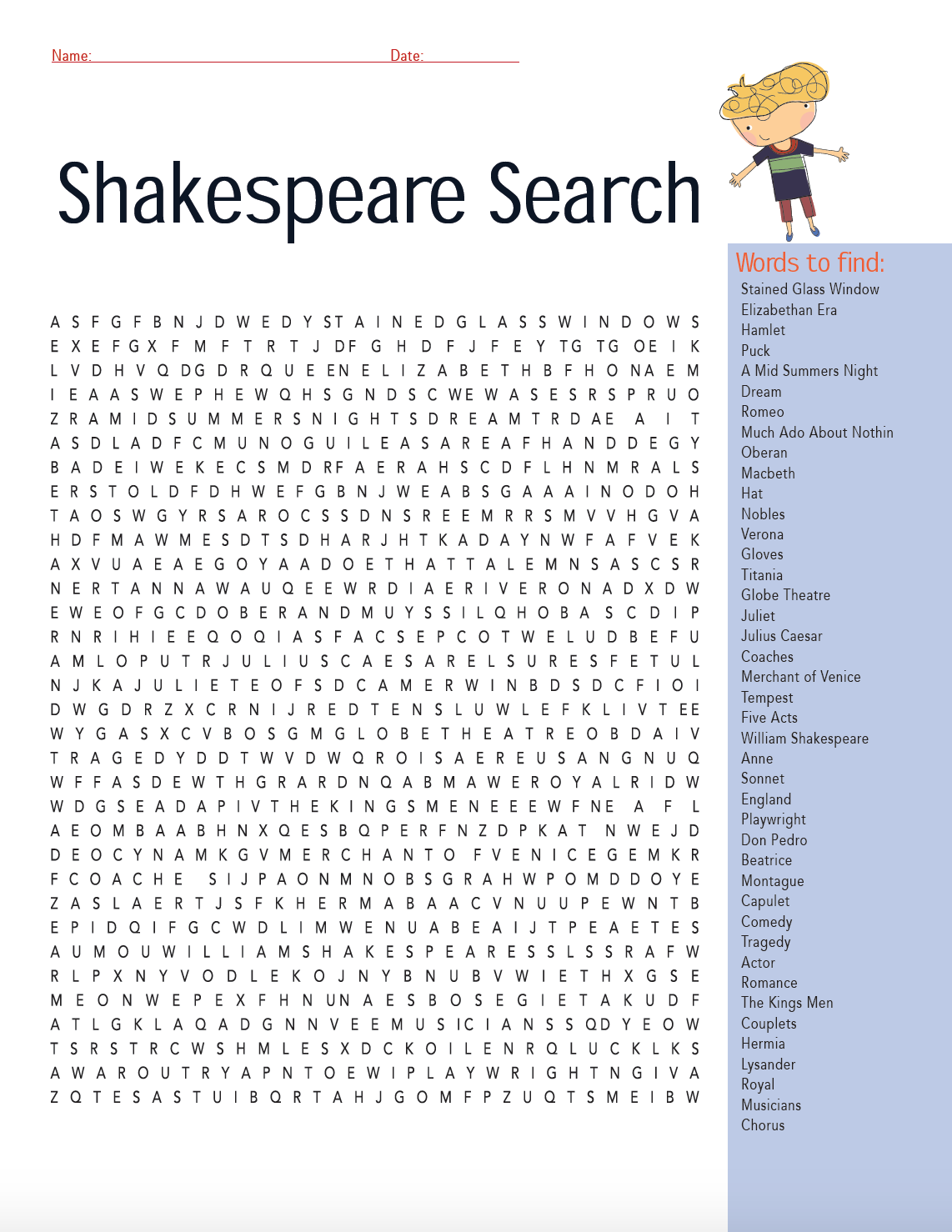 Shakespeare Word Finds
