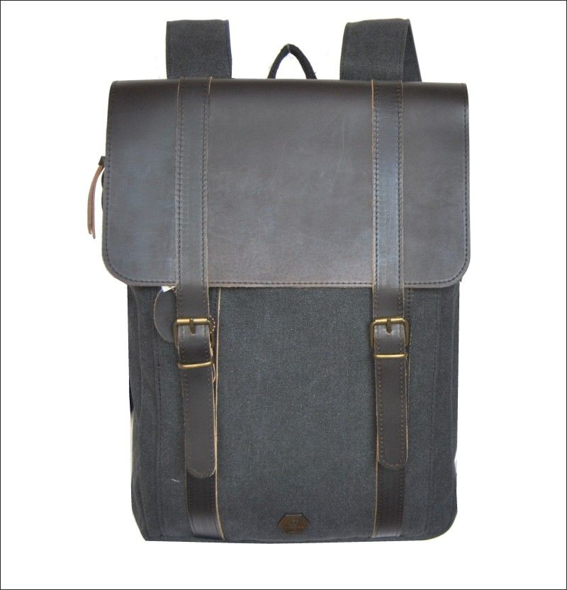 3c9a4af194 Burban leather and canvas big backpack with laptop compartment Handmade in  Greece www.travellerstore.eu. Βρείτε αυτό το pin και πολλά ακόμα ...