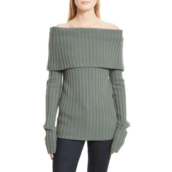 daa0908d92 Women's Theory Off The Shoulder Cashmere Sweater ($475) ❤ liked on Polyvore  featuring tops