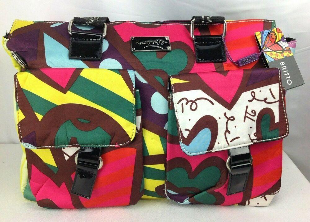 Nwt Romero Britto Shoulder Tote Handbag