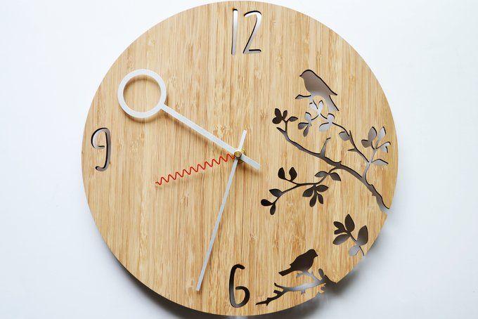 Bird Branch Bamboo Wall Clock Wood Wall Clock Wood Clocks Bamboo Wall