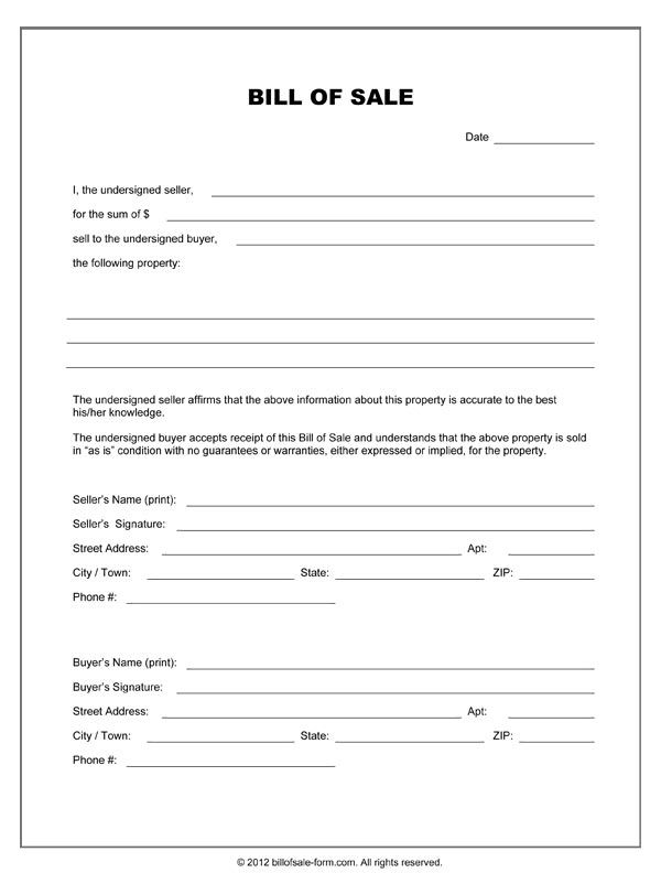 Printable Sample Equipment Bill Of Sale Template Form | Laywers