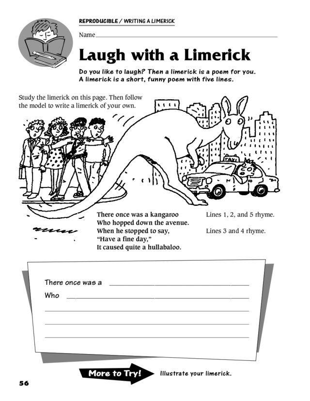Laugh With A Limerick 3rd 5th Grade Worksheet Common Core Reading 5th Grade Worksheets Limerick 3rd grade poem worksheets