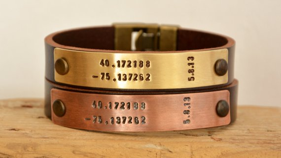 Coordinates Couple Bracelets Christmas Gift Personalize Leather Gift