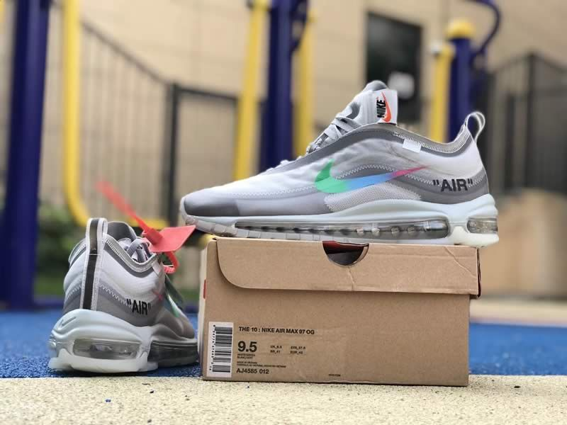 best website cf845 ff5a4 Off White Nike Air Max 97 Green Grey Mens Womens Shoes AJ4585-012 On Box