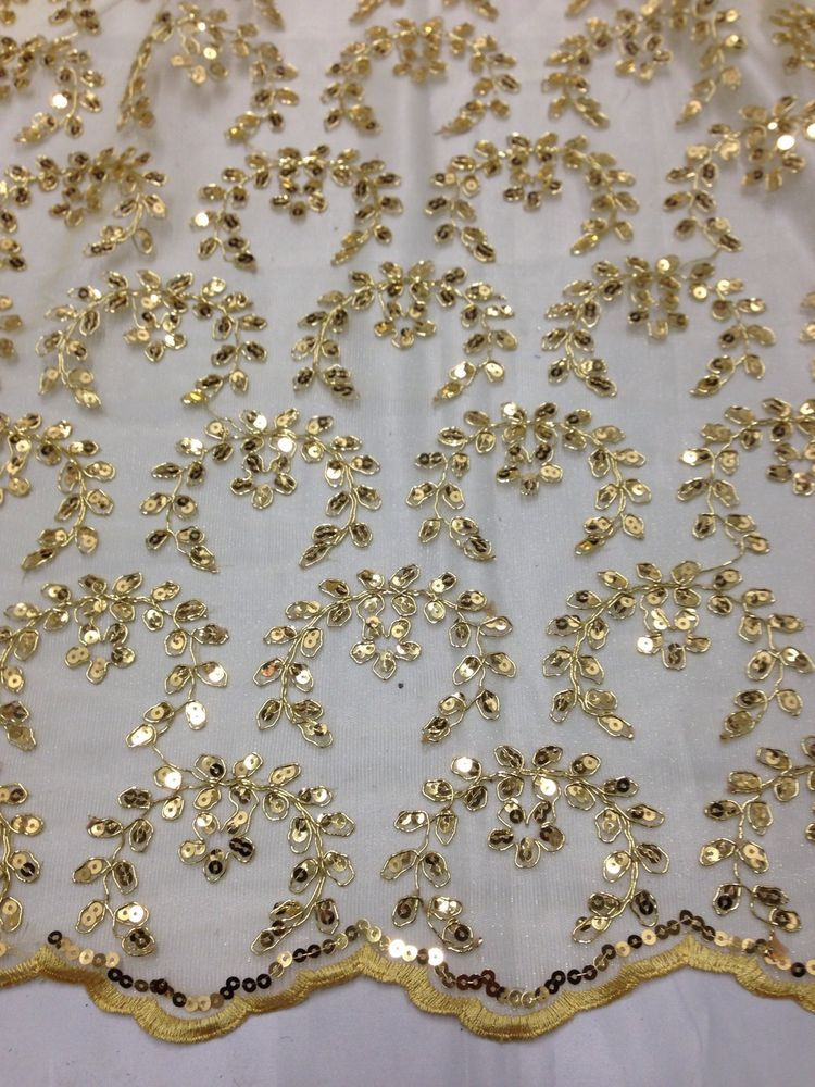 Amazing yellow Embroidery flower lace fabric PRICE FOR 1 YARD AND 20 INCH