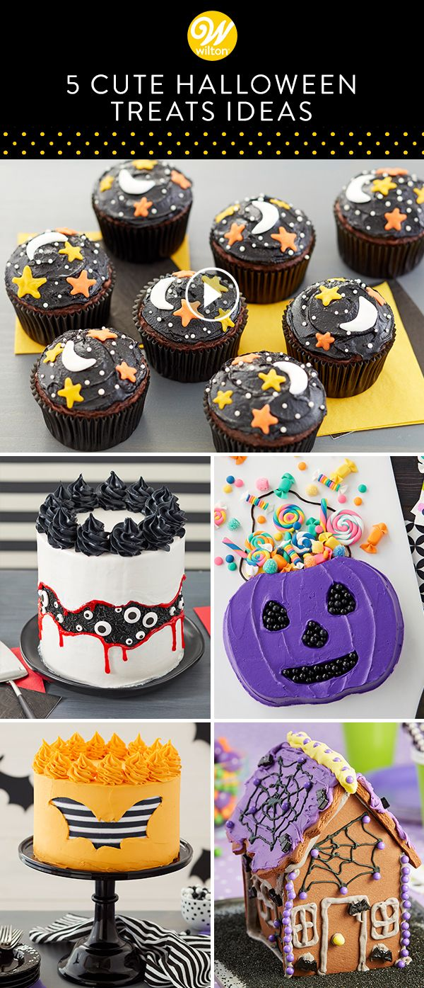 """Here is a video compilation of 5 cute treat ideas to make for Halloween! From cakes to cupcakes, these """"eerie-sistible"""" Halloween desserts will make your happy haunting celebration more fun."""