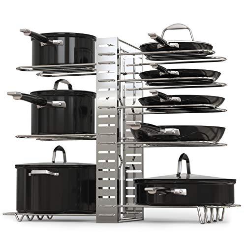 Pot Rack Organizer Adjustable Height Position Kitchen Counter Organizer Silver Pot Racks Ideas Of Pot Racks Pan Organization Pot Rack Shelf Organization