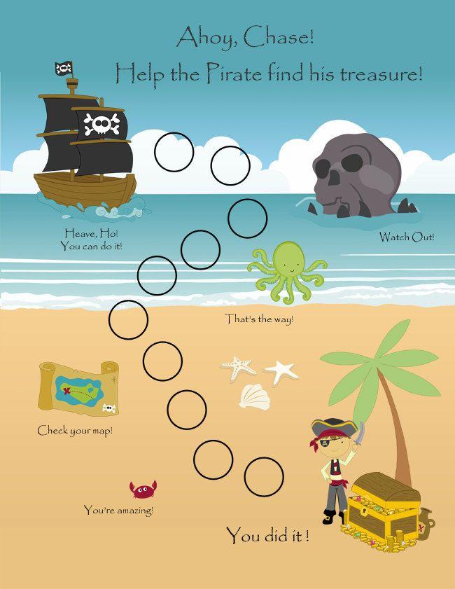 PRINTABLE - Personalized Child Behavior Reward Chart - Pirates - incentive chart template
