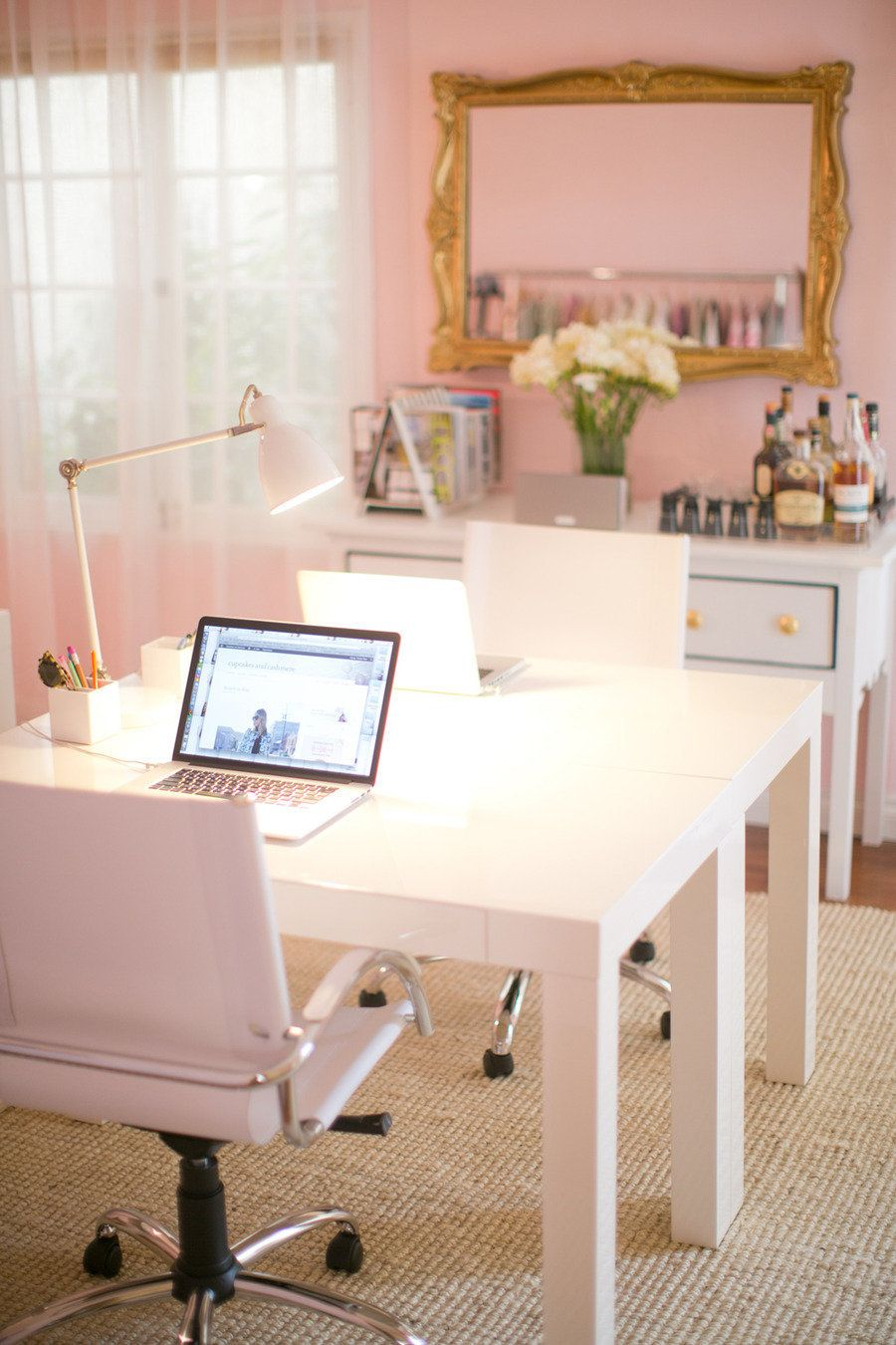 Girly Feminine Pink Home Office Desk Home Decor Interior Design Apartment