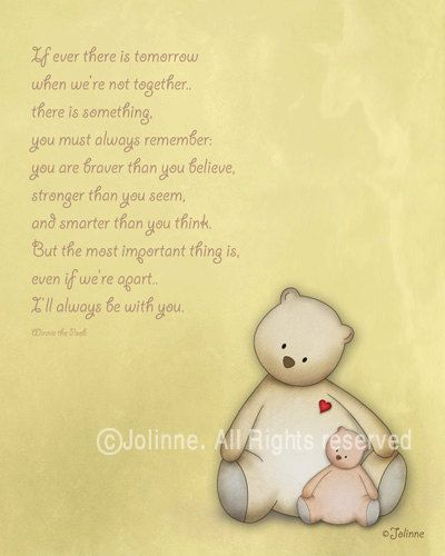 Nursery art print , children art, yellow, baby room, winnie the pooh ...