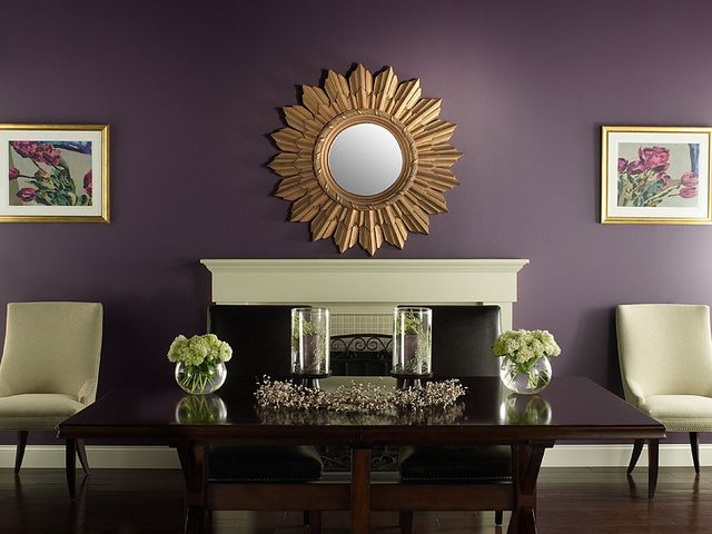 Traditional Dining Room Purple Living Room Accent Walls In