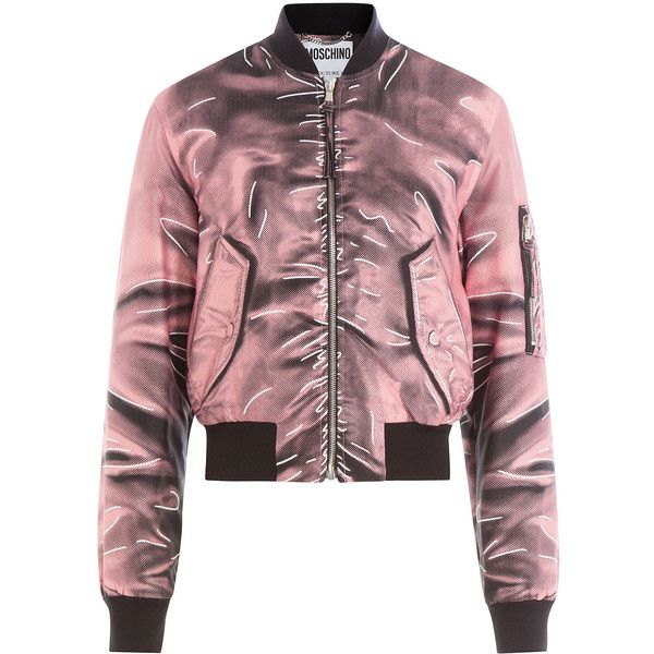 Moschino Printed Bomber Jacket (€1.200) ❤ liked on Polyvore featuring outerwear, jackets, rose, red jacket, urban jackets, red flight jacket, moschino and slim fit jacket