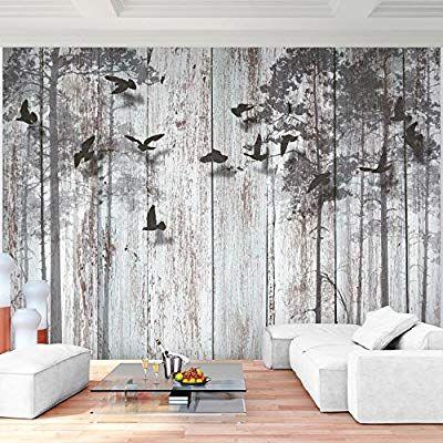 Fototapete Abstrakt Holzoptik Vlies Wand Tapete Wohnzimmer   Graue Tapete  Wohnzimmer