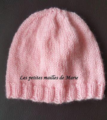 Bonnet taille naissance   tricot crochet layette (modèles gratuits ... 3f7907fd7fc
