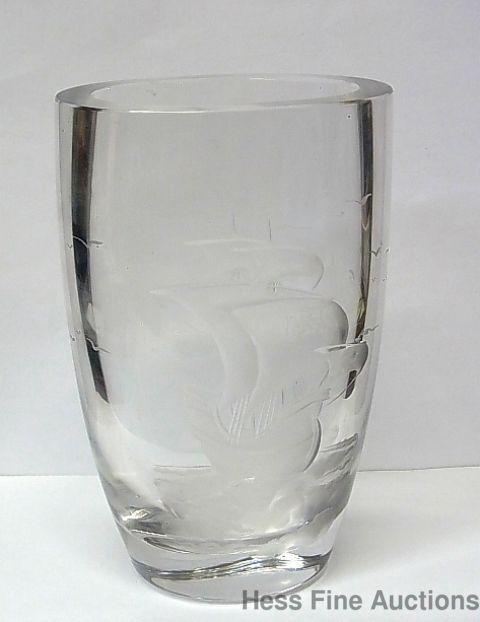 Signed Kjellander Scandinavian Carved Etched Art Glass Vintage Vase Sailing Ship