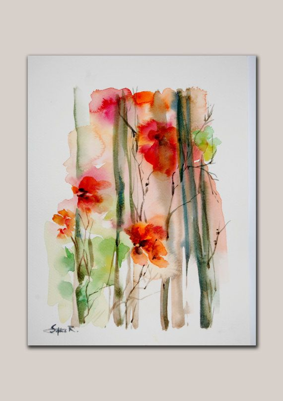 Original Watercolor Abstract Intuitive Floral by SophieRR on Etsy, $72.00