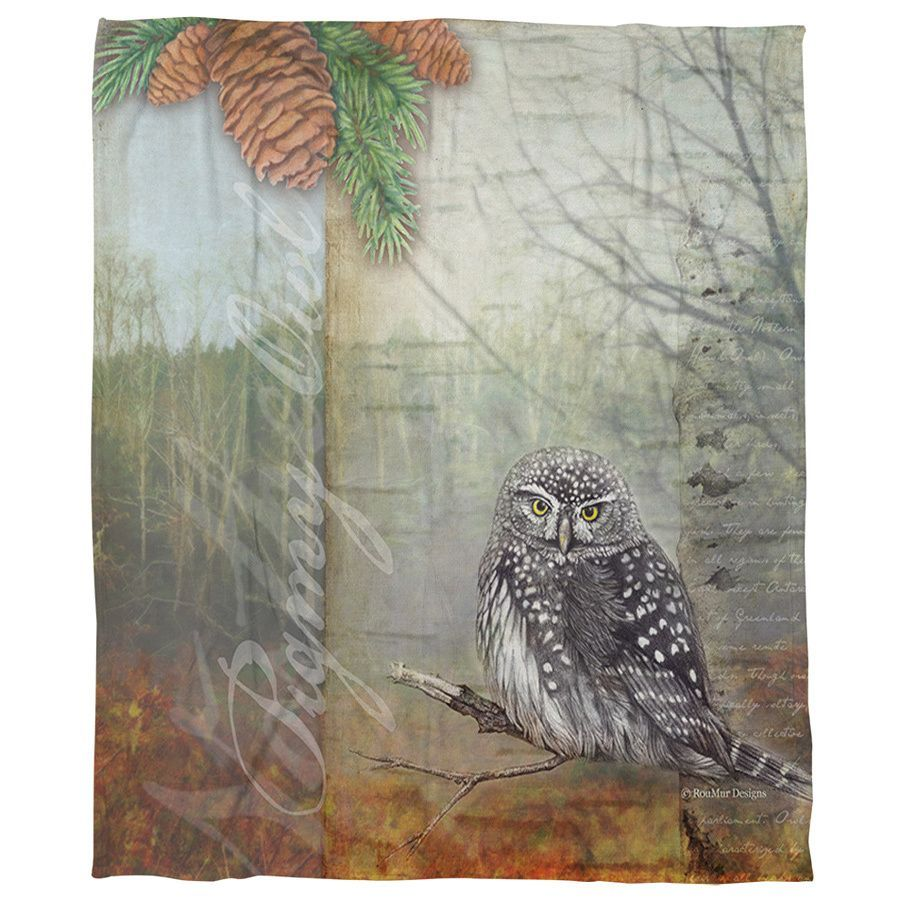 "Conifer Lodge Owl Coral Fleece Throw (60"" x 80""), Gray"