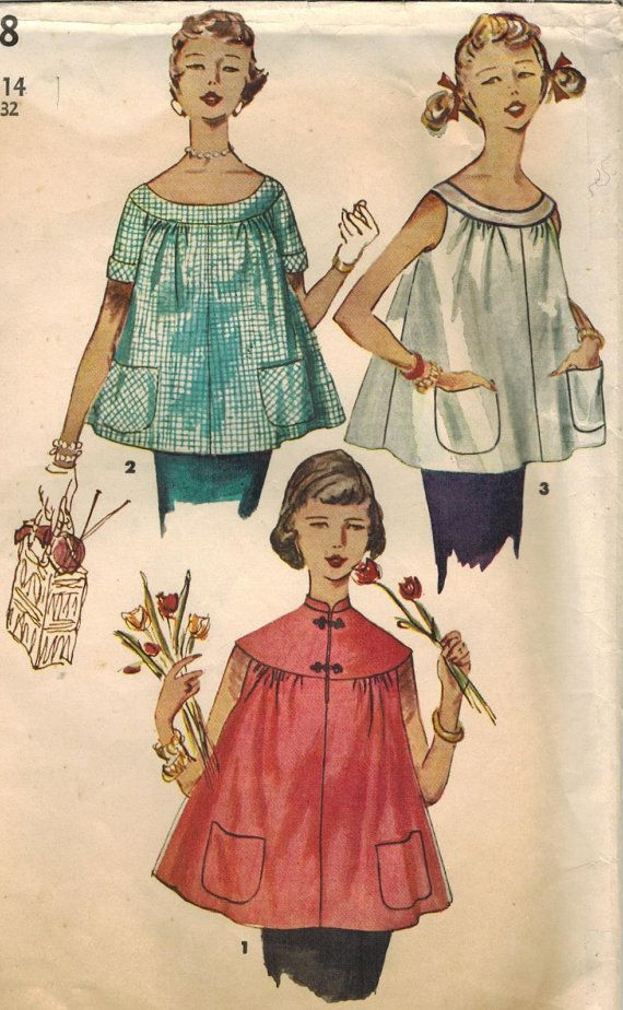 Misses 4718 Sewing Pattern Simplicity Maternity Vintage Tops 1950s w1xqBARXCW