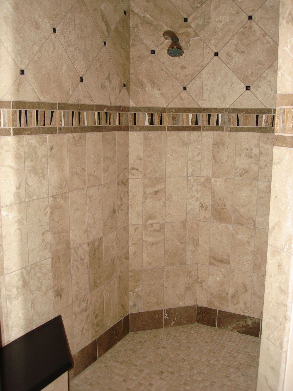Bathroom Cream Color Feat Brown Line Combine Travertine Tile In Glamorous Furniture Cool Decorating Ideas