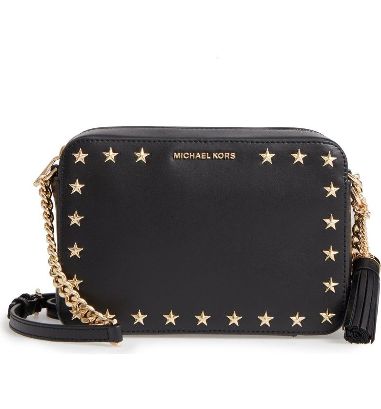 dbef6be9a81c8 MICHAEL Michael Kors Medium Ginny Star Studded Leather Crossbody Camera Bag