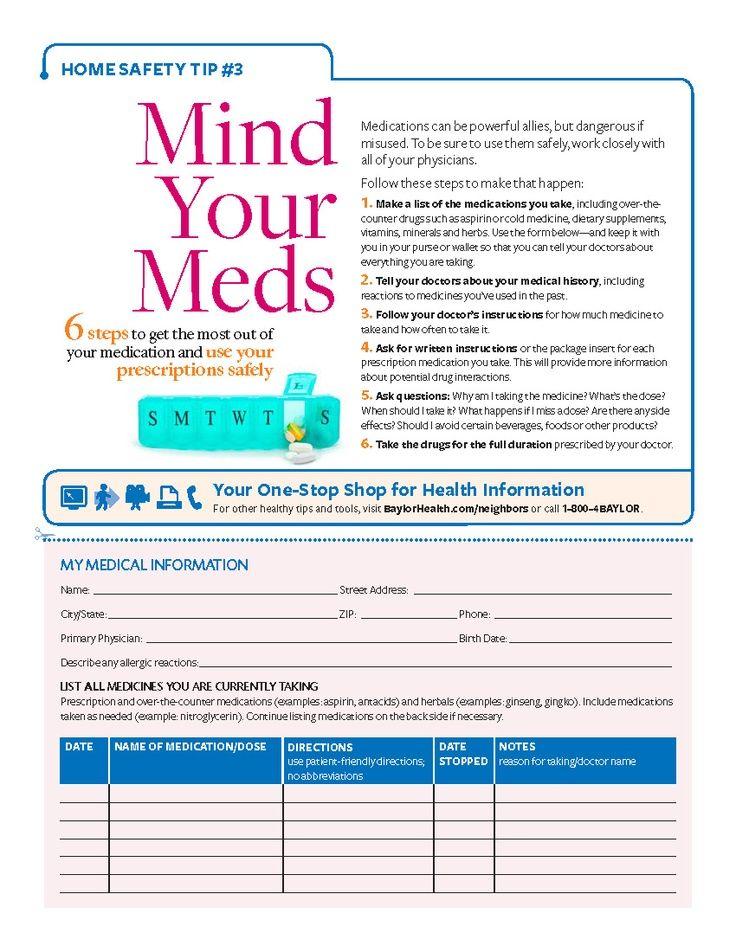 Mind Your Meds Printable Medication Checklist From Baylor Health Care Health Guide Medical Organic Health