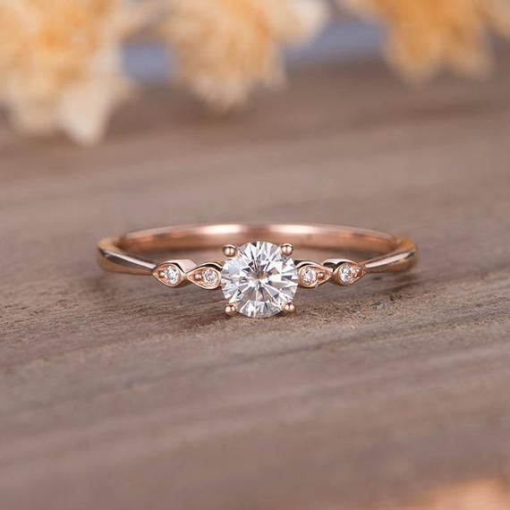 Moissanite Engagement Ring Rose Gold Solitaire Marquise Diamond Bridal Ring Dainty