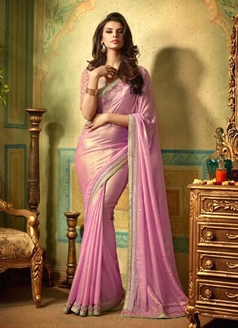 Invigorating Shimmer Georgette Patch Border Work Designer Saree