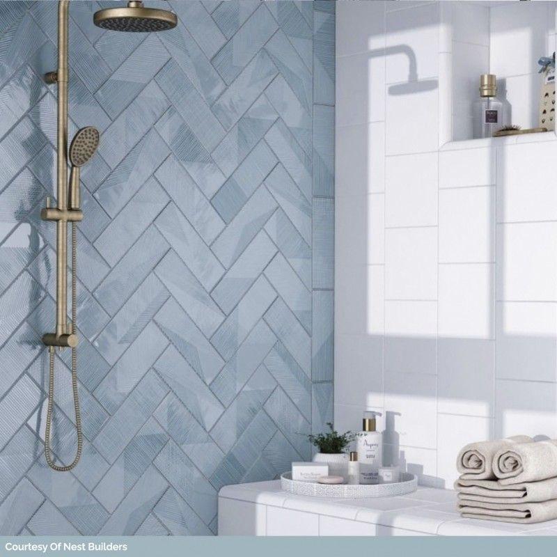 Pin By Erika Mackel On Bathroom Upgrade In 2020 Blue Shower Tile Blue Bathroom Tile Shower Tile