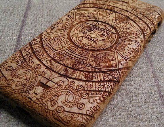 Engraving Wood Iphone Case Aztec Calendar Natural Wood Iphone Case