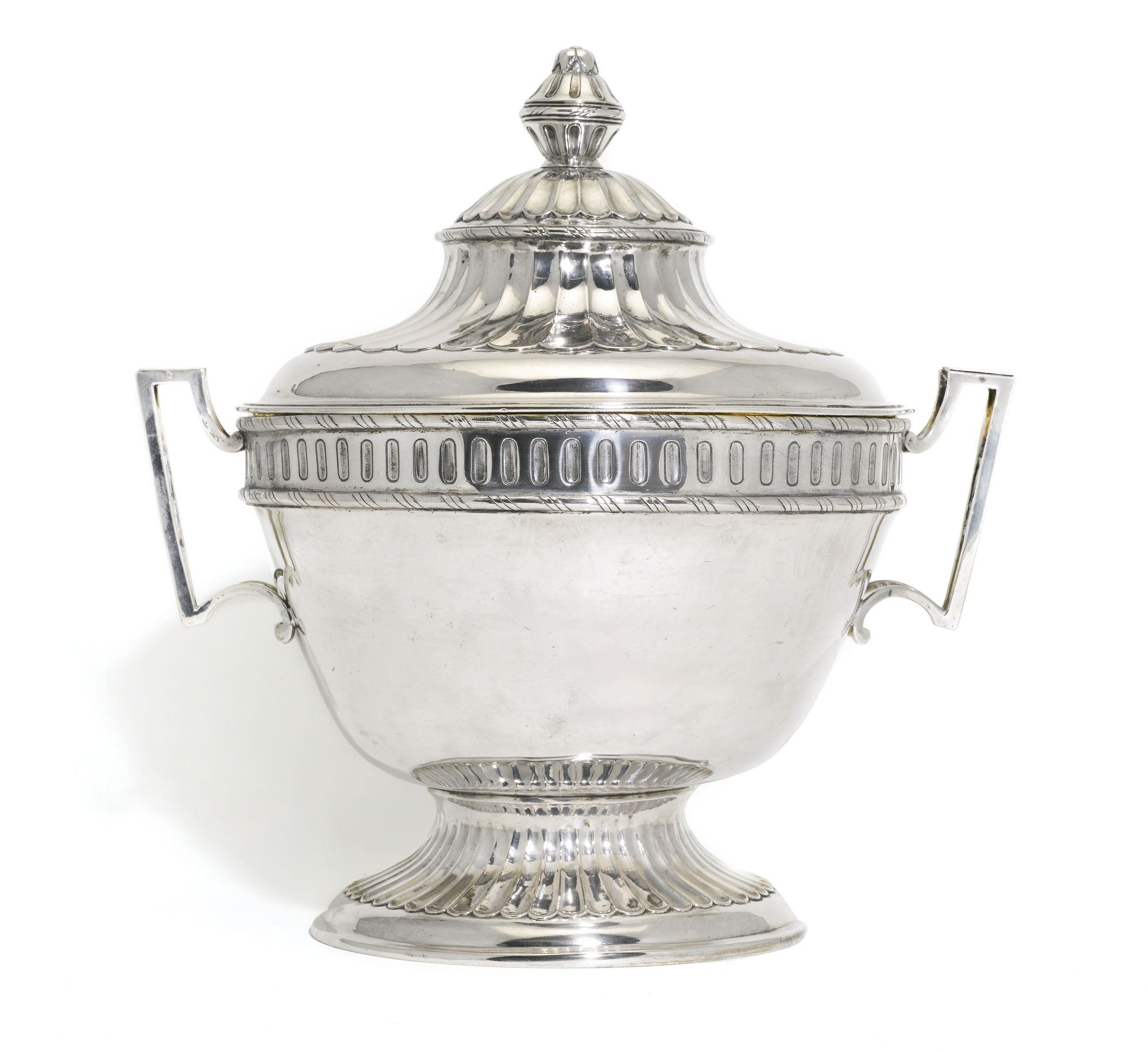 A Silver Tureen Moscow 1787 The Circular Bowl With