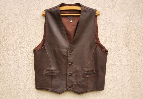 Vintage Brown Mens Vest Genuine Leather by VintageSuggestion